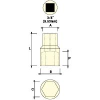 3/8 ソケット(6角) 22mm