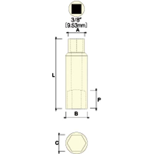 【取扱終了】3/8 ディープソケット(6角) 15mm