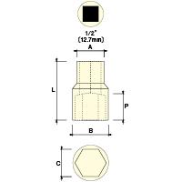【在庫限り取扱終了】1/2 ソケット(6角) 21mm