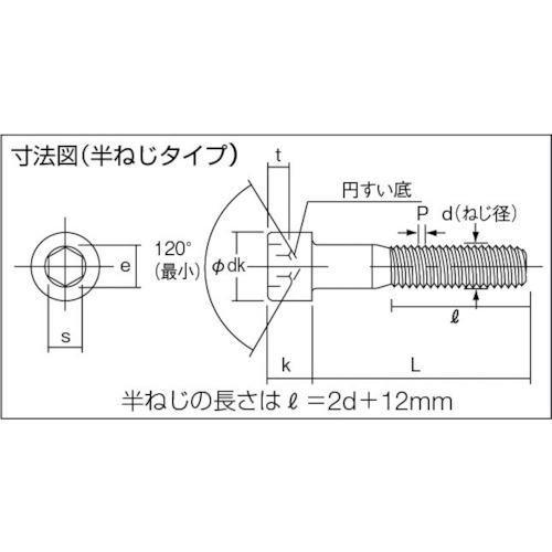 六角穴付ボルト 黒染め半ネジ サイズM12×75 6本入