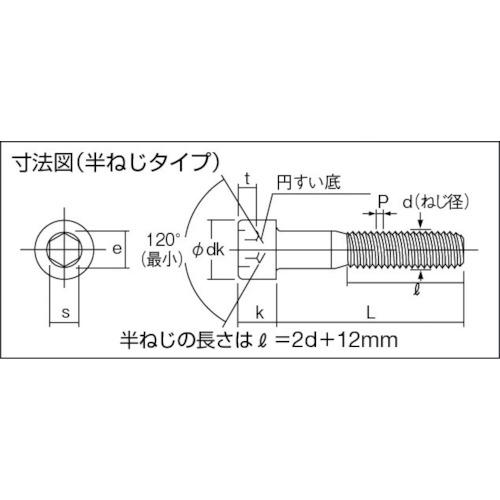 六角穴付ボルトユニクロ 半ネジ サイズM10×65 8本入