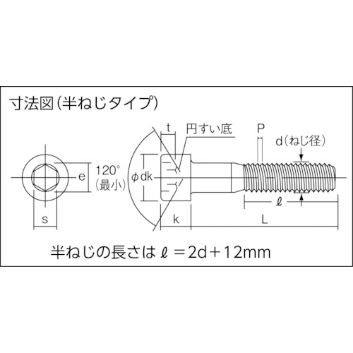 六角穴付ボルト三価 白 半ネジ サイズM8×55 5本入