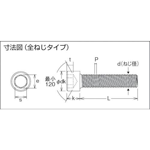 六角穴付ボルト三価 白 全ネジ M10×25 6本入