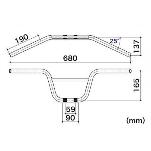 ハンドル セミレーシングUPタイプ メッキ