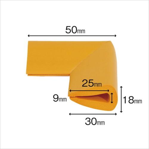 安心クッションはさみこみ型コーナー用 幅18mm×長さ50mm×高さ30mmm イエロー