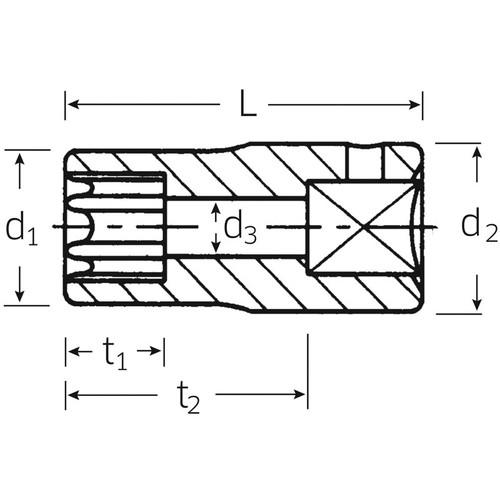 (1/4SQ)ヘクスローブソケット 40TX-E8
