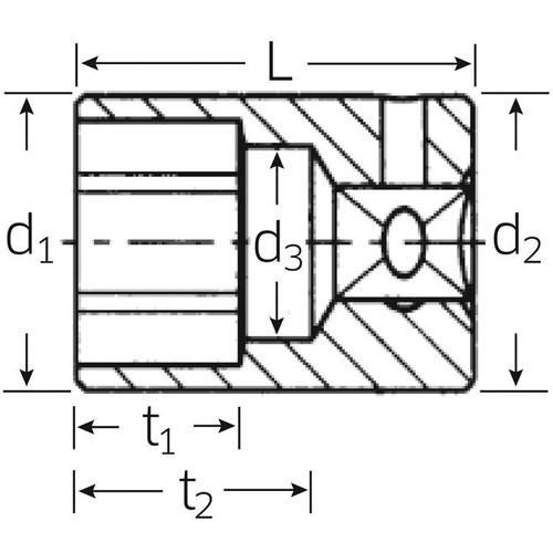(1/4SQ)ソケット (12角) 40AD-3/16