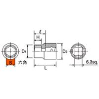 B2-12 6.3sq.(1/4DR) ソケット(6角) 12mm