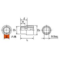 B3-19 9.5sq.(3/8DR) ソケット(6角) 19mm