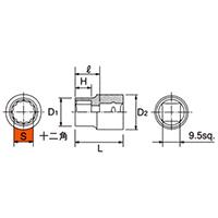 B3-12W 9.5sq.(3/8DR) ソケット(12角) 12mm