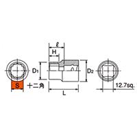 B4-10W 12.7sq.(1/2DR) ソケット(12角) 10mm