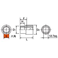 B4-10 12.7sq.(1/2DR) ソケット(6角) 10mm