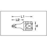 (1/4sq)ドライバーソケット(+) 44P-2