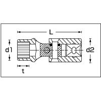 (3/8sq)ユニフレックスソケット 47-15