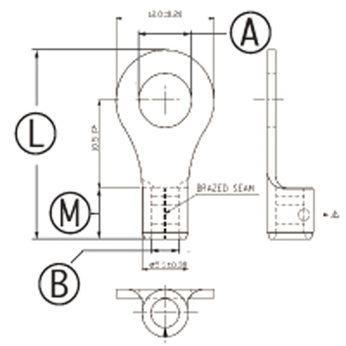 丸型 裸圧着端子 銅線用 φ5.3 1.5-2.5sq