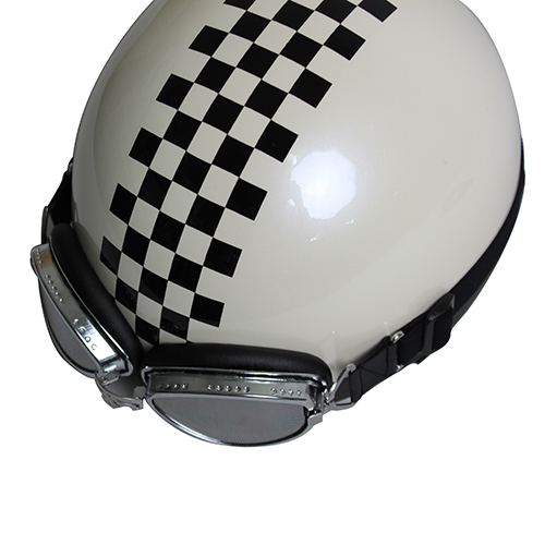 【訳あり】ビンテージヘルメット パールホワイト/チェッカー
