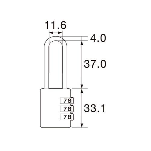 しっかり丈夫な可変式文字合わせ錠 ツル長 IB-126