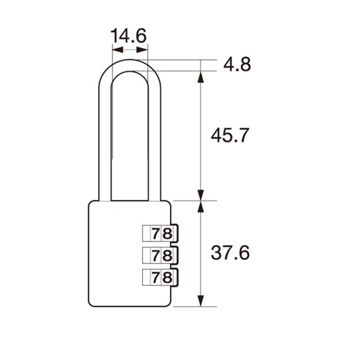 しっかり丈夫な可変式文字合わせ錠 ツル長 IB-127
