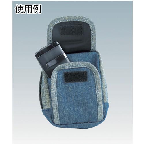 デニム携帯電話用ケース 2ポケット ブラック