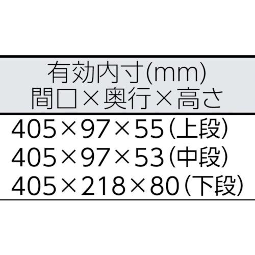 BX331 ツールケース(メタル) V形3段式 433×220×240mm
