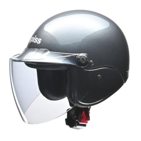 apiss AP-603 セミジェットヘルメット ガンメタリック