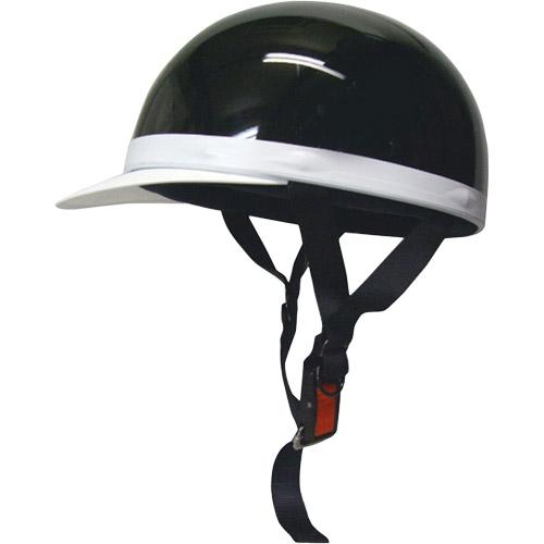 ハーフキャップヘルメット 白ツバ付ブラック