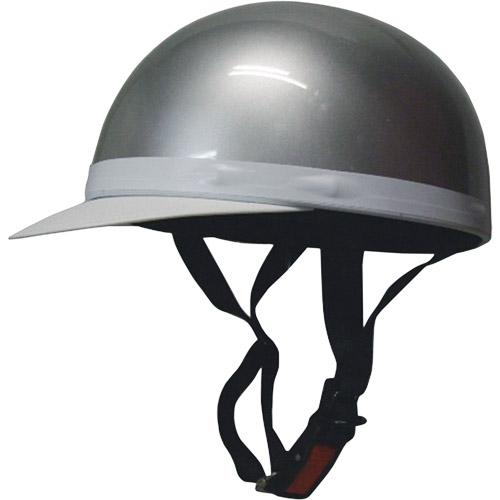 ハーフキャップヘルメット 白ツバ付シルバー