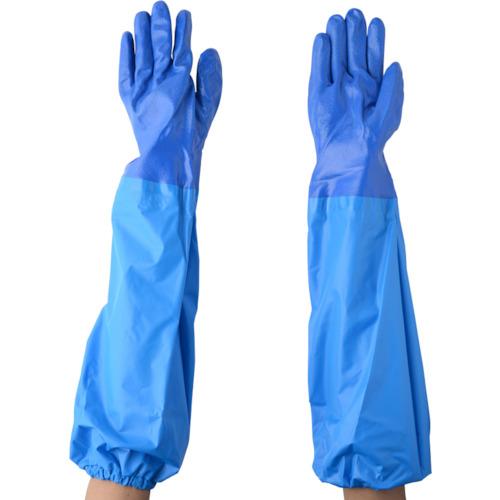 NO660ニトリルモデルブルー腕カバー付手袋LL