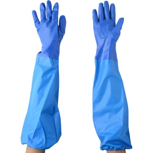 NO660ニトリルモデルブルー腕カバー付手袋M