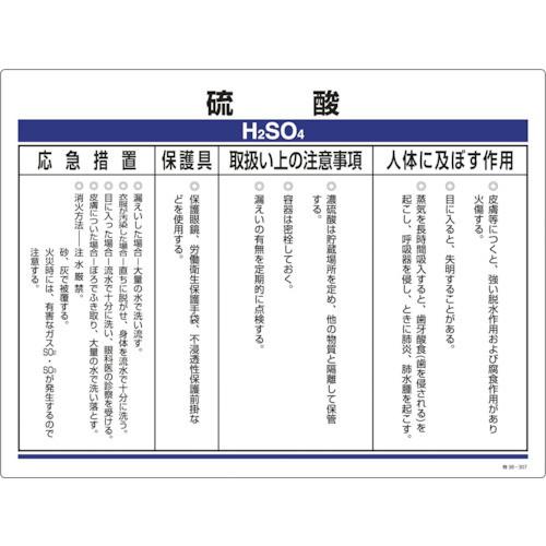 化学物質関係標識 硫酸 450×600mm 塩ビ