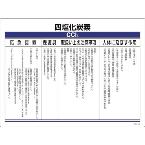 特定化学物質標識 四塩化炭素 塩ビ 450×600mm