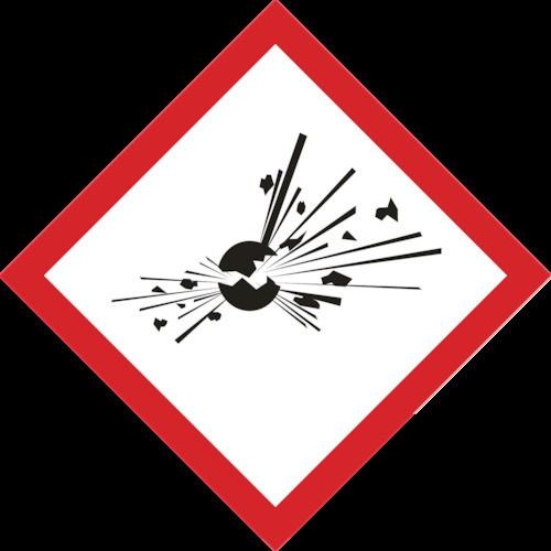 GHSステッカー標識 爆弾の爆発 150×150mm 5枚組 PET