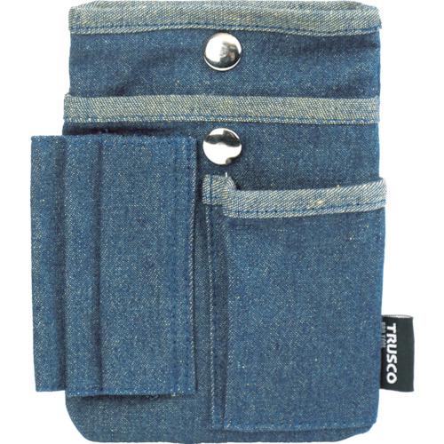 デニムフラットケース マルチポケット ブルー