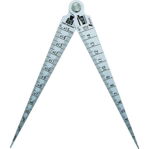 テーパーゲージダブル_1〜15mm_隙間・穴径・長さ測定目盛付