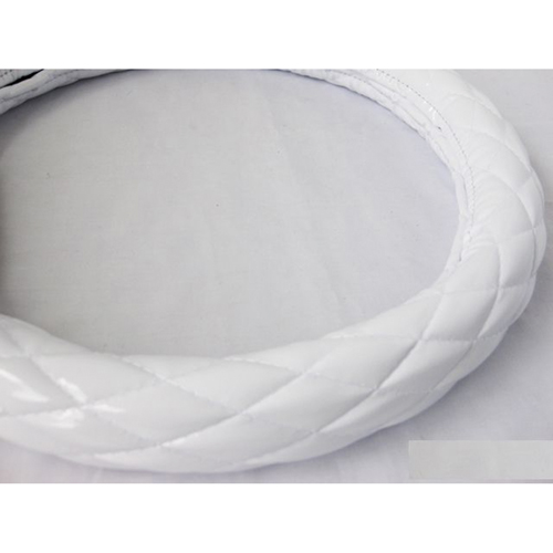 【受注生産品】ハンドルカバー シングルステッチ つやありエナメル ホワイト 2HS