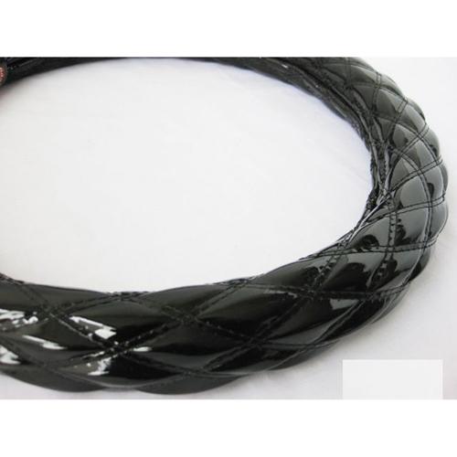 【受注生産品】ハンドルカバー ダブルステッチ つやありエナメル ブラック/ブラック LS