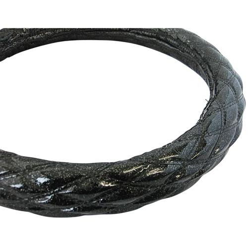【受注生産品】ハンドルカバー ダブルステッチ ラメ ブラック/ブラック LS