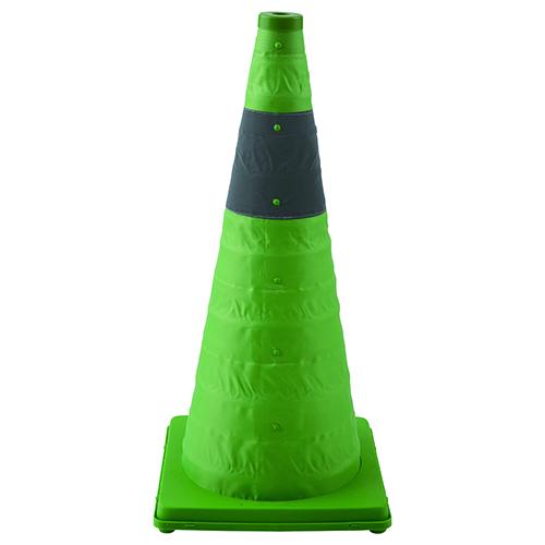 伸縮式三角コーン 41cm 蛍光グリーン S