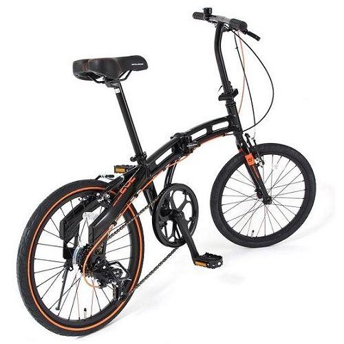 【直送】20インチ折りたたみ自転車 ブラック×オレンジ