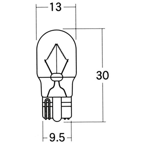 【1個売り】BWB18AOR 12V10W ウエッジ中(W2.1×9.5d) オレンジ