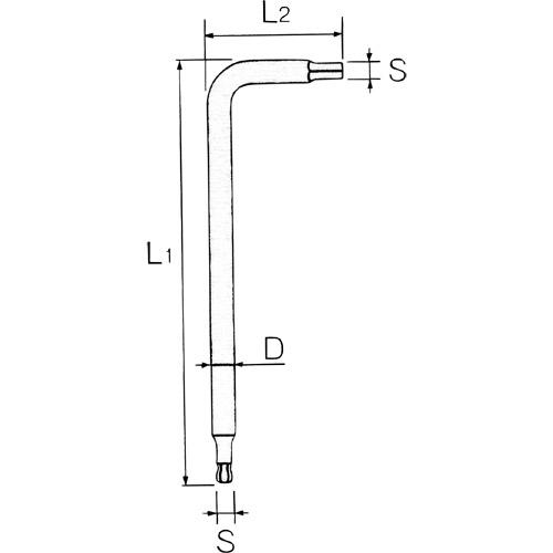 HLDA25003 ボールポイントL形ロングヘキサゴンレンチ(単品) 3mm