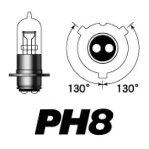 PH8 6V30/30W P15D25-3 (クリア)