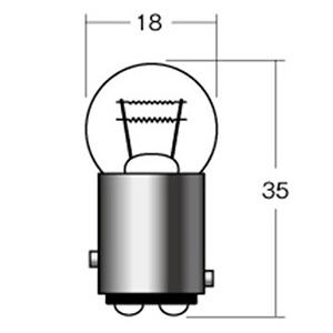 【1個売り】B5410OR 12V23/8W BAY15D オレンジ