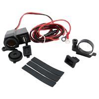 バイク、トラック用 防水USB/シガーソケット 12V-24V マウントセット