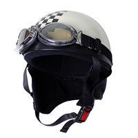 ビンテージヘルメット パールホワイト/チェッカー