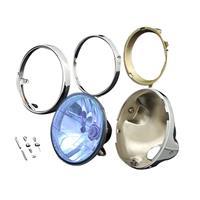 Brightecヘッドライト マルチリフレクター [ブルー メッキケース付セット] (M8ボルト汎用)