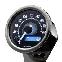 VELONAスピードメーター 200km/h バフボディー ブラックP/ホワイトLED