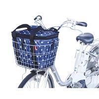 自転車前カゴ用サイクルサーモバッグ 水玉紺