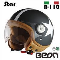 BEON スモールジェットヘルメット B110 スター マッドブラック Mサイズ
