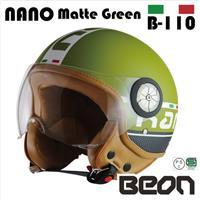 BEON スモールジェットヘルメット B110 NANO マッドグリーン Lサイズ